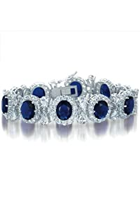 Queenie's Sterling Silver Bracelet Royal Blue Sapphire & Cubic Zirconia Half Bezel Set w/ Pear Shape CZ Links - Incl. ClassicDiamondHouse Free Gift Box & Cleaning Cloth
