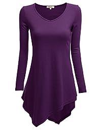 Doublju Womens Long Sleeve V-Neck Handkerchief Longline Tunic Blouse Top PURPLE LARGE