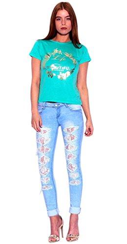 donne janisramone acido vita elasticizzata basso lavato denim sexy robusto jeans strappati