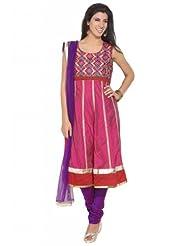 Anahi Cotton Fab Floral Net Dupatta Dark Pink Suit