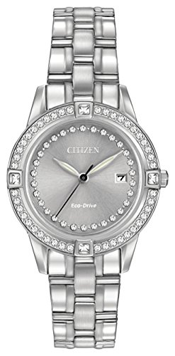 Citizen Silhouette Crystal Women's Quartz Watch with Silver Dial Analogue Display and Silver Stainless Steel Bracelet FE1150-58H