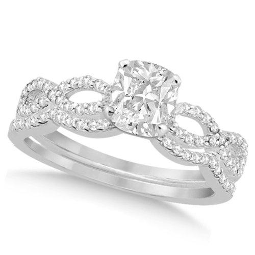 Twisted Infinity Cushion Diamond Engagement Ring Bridal Set 14K W. Gold 0.88Ct