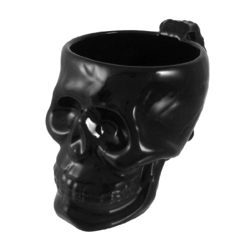 Cool Black Ceramic Skull Coffee Mug Cup Goth Evil