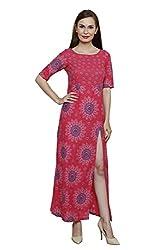 LEBE Women's Multi Coloured Cotton Round Neck Dress