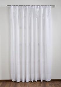 Christiane Wegner 0400-07 - Cortina (1 x 2,25 m, con bandas satinadas), color blanco en BebeHogar.com
