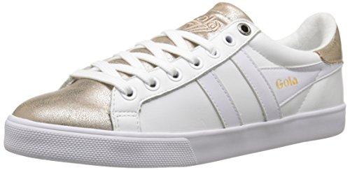 Gola Women's Orchid Metallic Fashion Sneaker, White/Gold, 9 M US