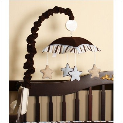 Geenny Musical Mobile For Brown Blue Star & Moon Crib Bedding Set