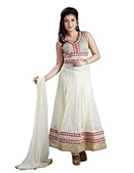 Sharmili Womens Net Fabric Ready-To-Wear Anarkali Salwar Suit With Coding & Badla Border