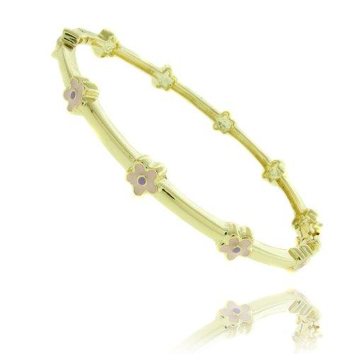Lily Nily 18k Gold Overlay Pink Enamel Flower Design Children's Bangle