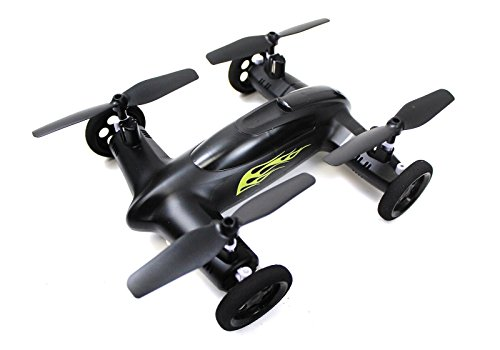 Syma X9 Flying Quadcopter Car Remote Control Car and Drone with Battery (Matte Black and Yellow Flames) (Battery For Car Control Remote compare prices)