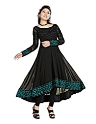 Clickedia Women Georgette Black & Pink Embroidered Anarkali Suit- Dress Material - B0166FW1VS