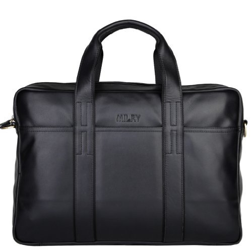Milry Men's Genuine Leather Top-grade Cowhide Leather Briefcase for Business and Laptop Messenger Bag Black P0074-1