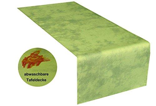 Tischlufer-abwaschbar40x140cm-eckig-grn-meliert-sogar-Ketchup-lsst-sich-mhelos-mit-einem-feuchten-Tuch-abwaschen-Schmutz-und-Wasserabweisend-Farbe-whlbar