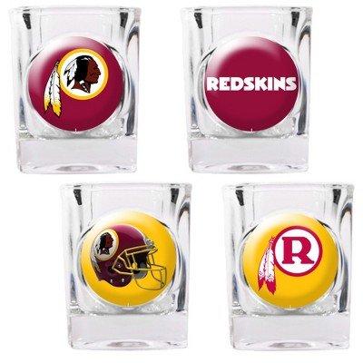 NFL Washington Redskins Four Piece Square Shot Glass Set (Individual Logos)