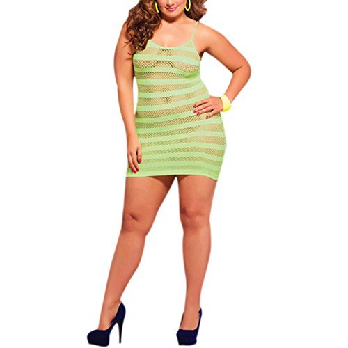 TopTie Women Plus Size Fishnet Babydoll Lingerie Chemise Nightdress with Thong