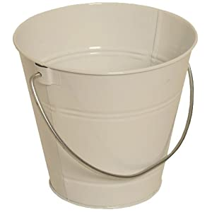 Solid white small colorful metal pail buckets for Tiny metal buckets