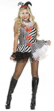 Black and White Jester Adult Costume