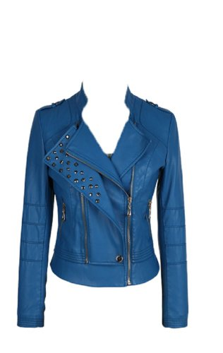 Emaan's Women Stylish Blue Leather Jacket with Studds (10)