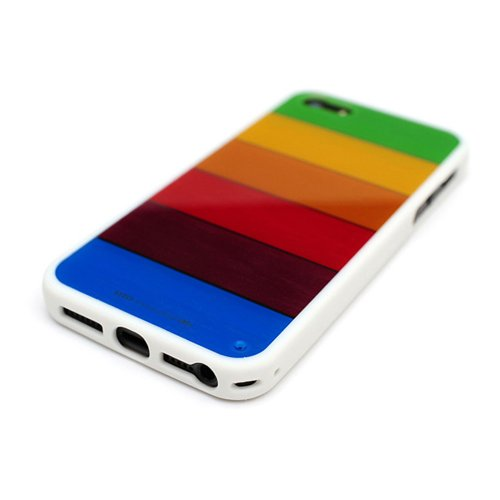 LIM'S Rainbow Classic Edition Bar Cover Case for Apple iPhone 5 /5S - White Color + 2 Home Button Sticker Gift