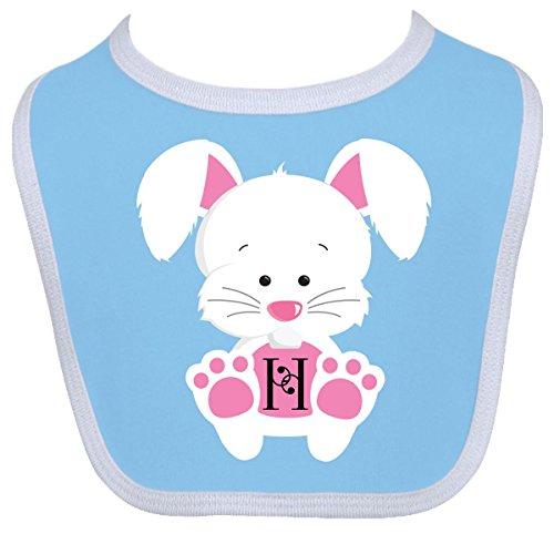 Inktastic Baby Boysâ€Tm Easter Bunny Letter H Monogram Baby Bib One Size Blue/White front-1056767