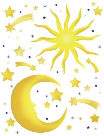 Spirit 350-0114 Peel and Stick Stars and Moon European Wall Decals