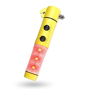 Window Breaker - Seat Belt Cutter - Flashing Emergency Beacon Light - LED Flashlight with Powerful Magnetic Base - Elite's 5 in 1 Auto Safety Emergency Escape Tool is the Industry Leader in Car Safety - Lifetime Guarantee
