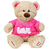Absoluteplay Cute Teddy Bear With Pink T-Shirt And Embroiderey I Love U Soft Toy- H 37cm