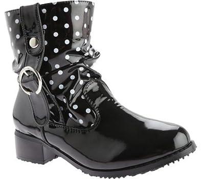 Beacon Shoes Women's Drizzle,Black Polka Dot Polyurethane,US 8 M