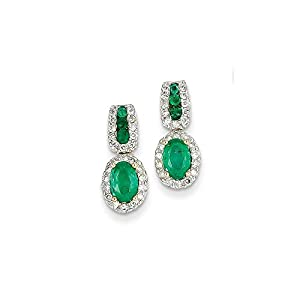 Christmas Sale -14k Yellow Gold 1/3Ct Diamond & Emerald Earrings - Excellent Gift