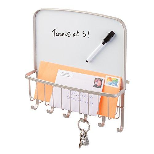 Mdesign mail letter holder key rack organizer w dry erase board satin - Key and letter rack ...