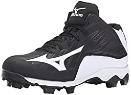 Mizuno 9 Spike ADV YTH FRHSE8 MD BK-WH Youth Molded Cleat (Little Kid/Big Kid), Black/White, 5.5 M US Big Kid