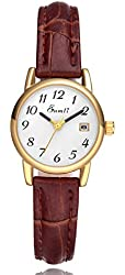 Eamti Women's Easy Reader White Dial Brown Leather Strap Casual Analog Quartz Wrist Watches with Date