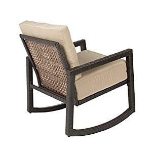 Best ChoiceProducts Outdoor Wicker Rocking Chair with Cushion Patio Furniture Luxury Chair by Best ChoiceProducts