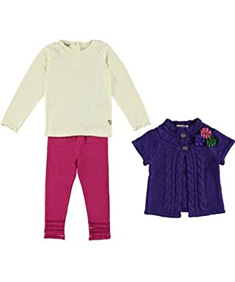 Guess Girls 12-24 Months 3 Piece Cardigan and Legging Set (12M, Purple/Pink/White)