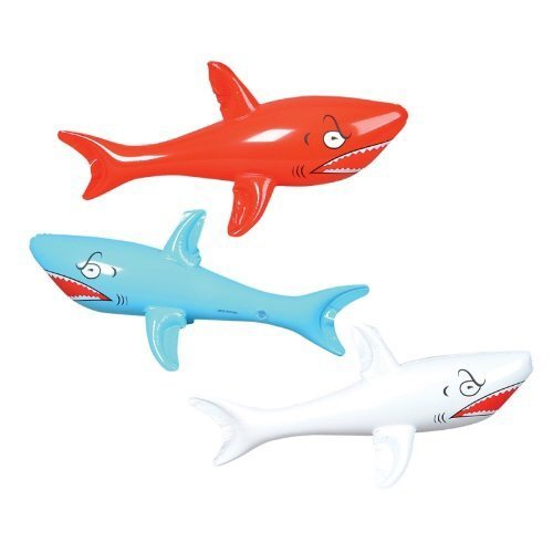 "Set of 6 Inflatable SHARKS 24"" / Birthday PARTY DECORATIONS Favors/Decor /"