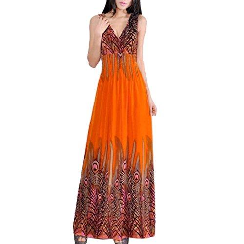 Women Milk Silk Peacock Totem V-Neck Long Maxi Dress Size M - Orange
