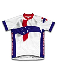 Netherland Antilles Flag Short Sleeve Cycling Jersey for Women