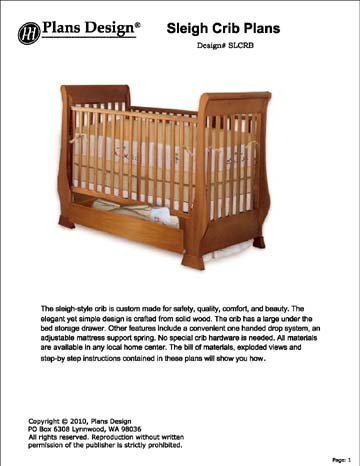 Clasic Sleigh Baby Crib With Drawer Woodworking Plans
