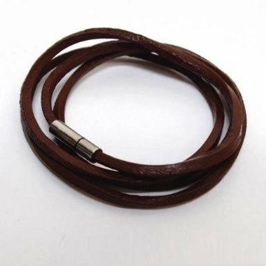 [Fenice] simple multiple winding leather leather bracelet and anklet versatile all-around item men women (dark brown)
