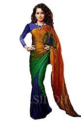 Priyam Creation New Designer Multi color Crepe Jacquard fancy Party Wear Saree With Blouse Piece.