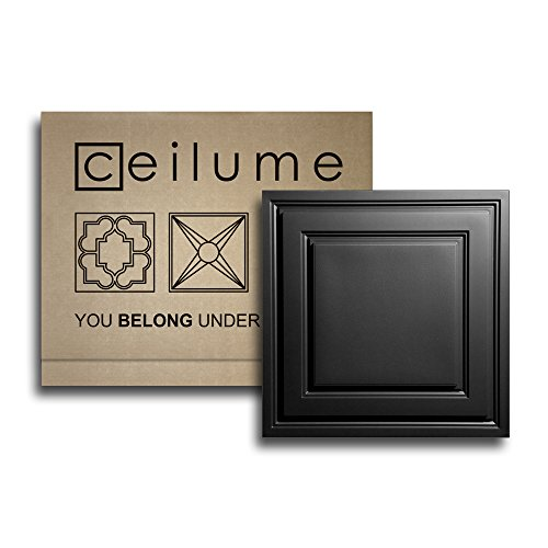 10 pc - Ceilume® Stratford Black Feather-Light 2x2 Lay In Ceiling Tiles - For Use In 1