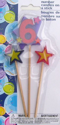 Number Birthday Cake Candles / Toppers / Decorations / Kit / 3 Piece Set / # 6 - 1