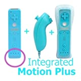 SHINNTTO(TM) 2 in 1 Motion Plus Built In WII Nintendo Remote Controller and Nunchuck + Silicone Case + Wrist Strap-Blue