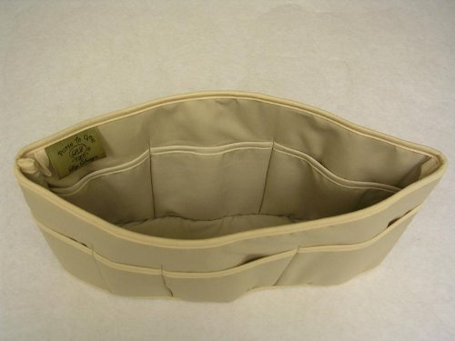 Purse To Go® purse organizer insert transfer liner-ENCLOSED BOTTOM- BUCKET TYPE- Large size (12″L x 6″H x 3.5″W) (PP-Tan)