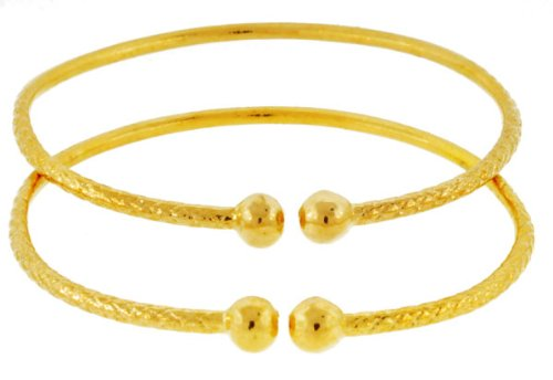 Baby Solid Sterling Silver West-Indian Bangle Set Plated with 14K Gold 42 Grams