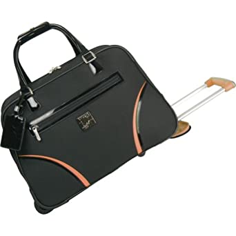 Diane Von Furstenberg Luggage Daisy Wheeled Weekender Bag, Black/Orange, One Size