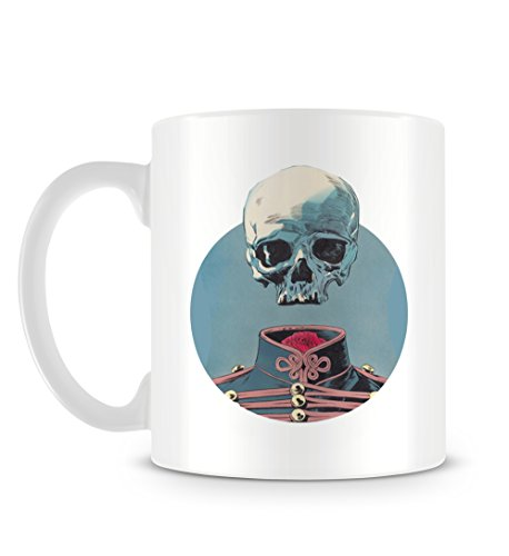 Skull Floating over Traditional Clothing with Blue Circle Tazza