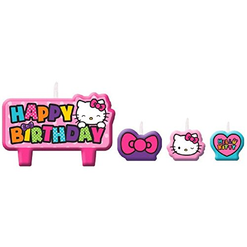 Adorable-Hello-Kitty-Rainbow-Birthday-Party-Candle-Cake-Decoration-4-Pack-Pink