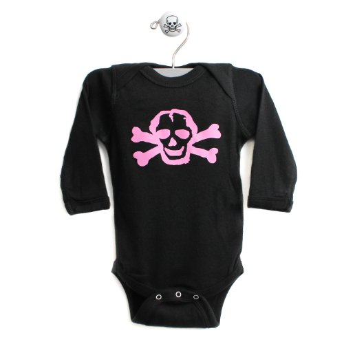 Pink Scribble Skull Long Sleeve One Piece Baby Body Suit In Color Black