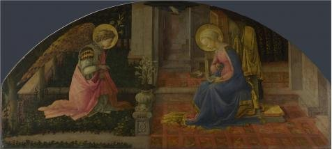 The Perfect Effect Canvas Of Oil Painting 'Fra Filippo Lippi - The Annunciation,about 1450-3' ,size: 30x67 Inch / 76x169 Cm ,this Beautiful Art Decorative Prints On Canvas Is Fit For Kids Room Decoration And Home Decor And Gifts